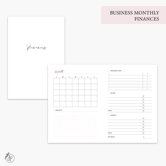 Business Monthly Finances Pink - A6 TN