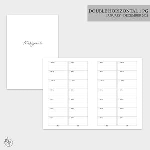 Double Horizontal on 1 Page 2021 - A6 TN