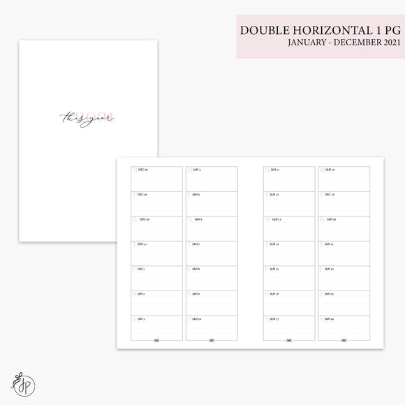 Double Horizontal on 1 Page 2021 Pink - A6 TN