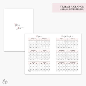 Year at a Glance 2021 Pink - A6 TN