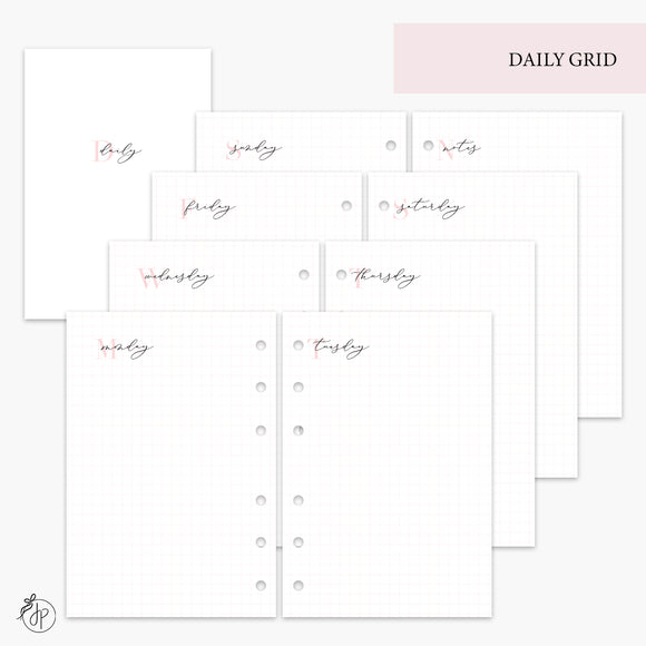Daily Grid Pink - A6 Rings