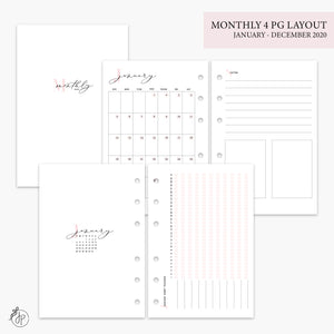 Monthly 4 Page Layout 2020 Pink - A6 Rings