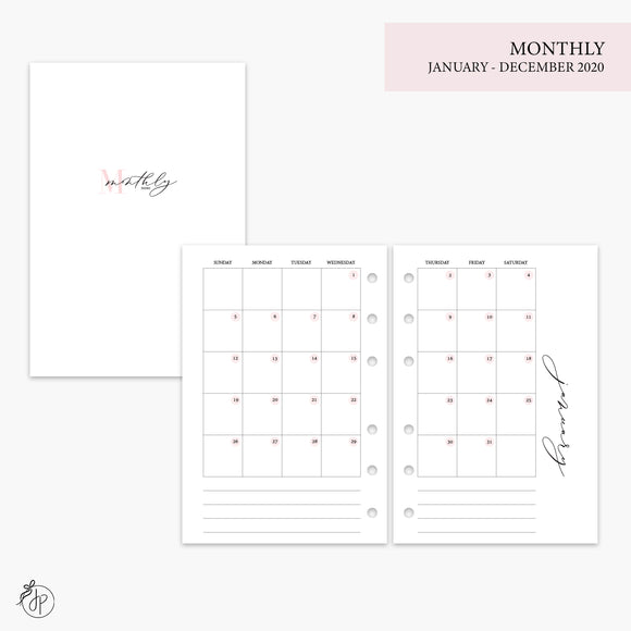 Monthly 2020 Pink - A6 Rings