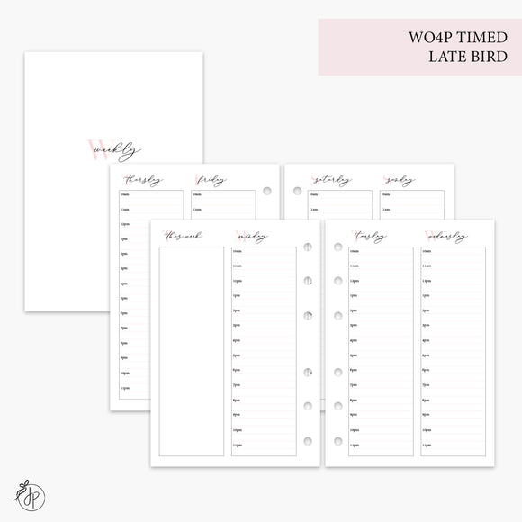 WO4P Timed Late Bird Pink - A6 Rings
