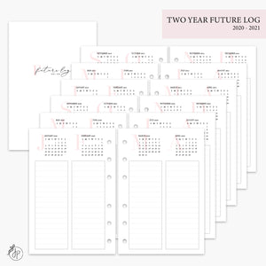 Two Year Future Log Pink 2020/2021 - A6 Rings
