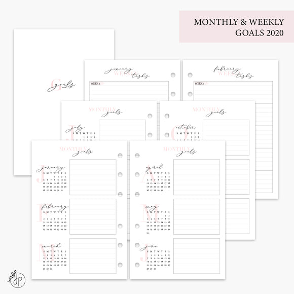 Monthly & Weekly Goals 2020 Pink - A6 Rings