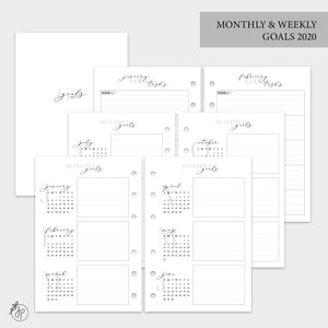 Monthly & Weekly Goals 2020 - A6 Rings