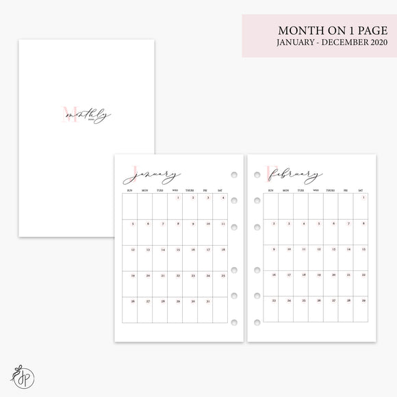 Month on 1 Page 2020 Pink - A6 Rings