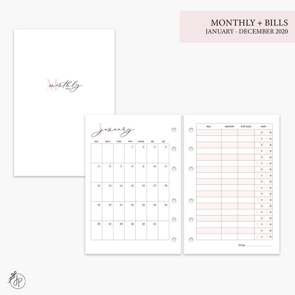 Monthly + Bills 2020 Pink - A6 Rings