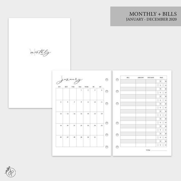 Monthly + Bills 2020 - A6 Rings