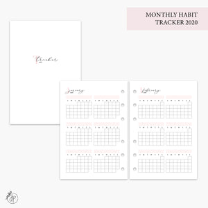 Monthly Habit Tracker 2020 Pink - A6 Rings