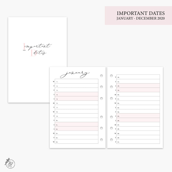 Important Dates 2020 Pink - A6 Rings