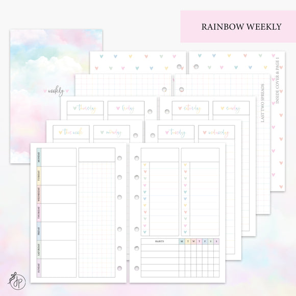Rainbow Weekly Set - A6 Rings