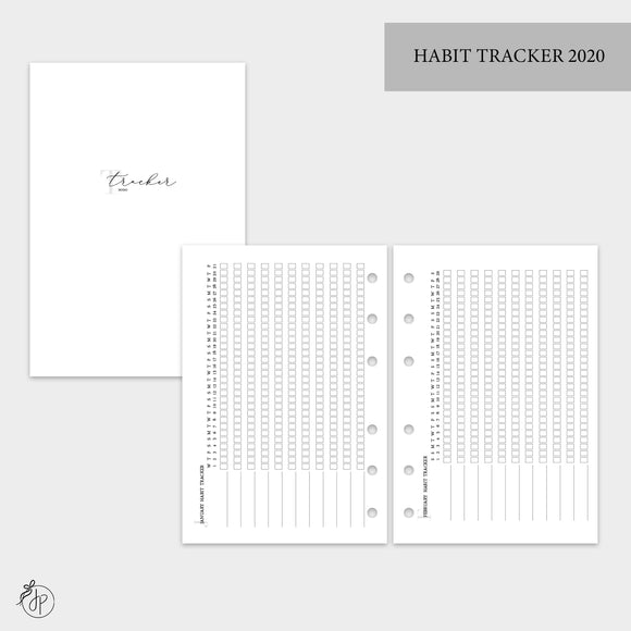Habit Tracker 2020 - A6 Rings