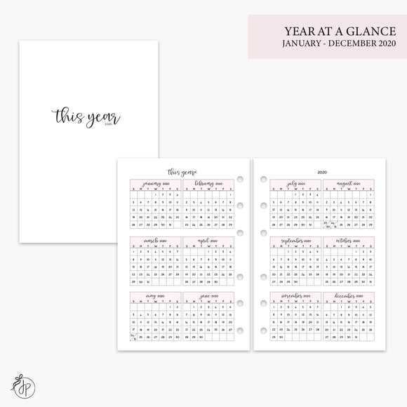 Year at a Glance 2020 Pink - A6 Rings