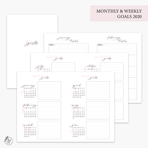 Monthly & Weekly Goals 2020 Pink - A6 TN