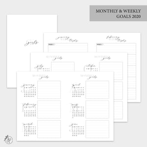 Monthly & Weekly Goals 2020 - A6 TN