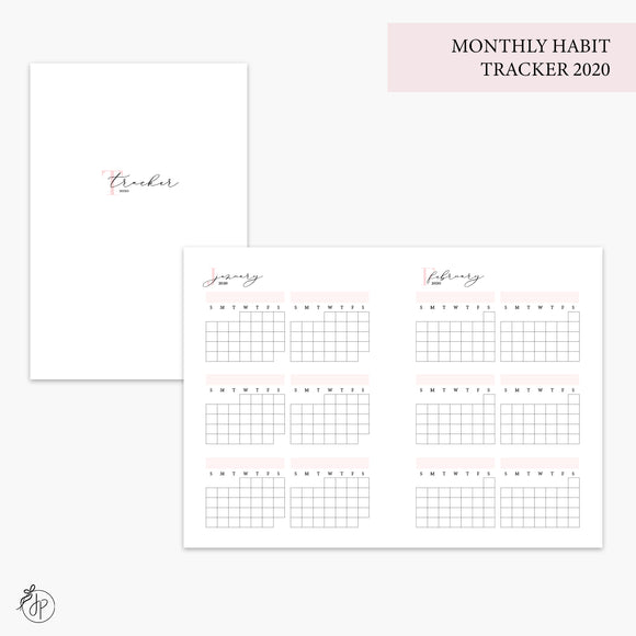 Monthly Habit Tracker 2020 Pink - A6 TN