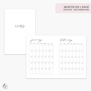 Month on 1 Page 2020 Pink - A6 TN