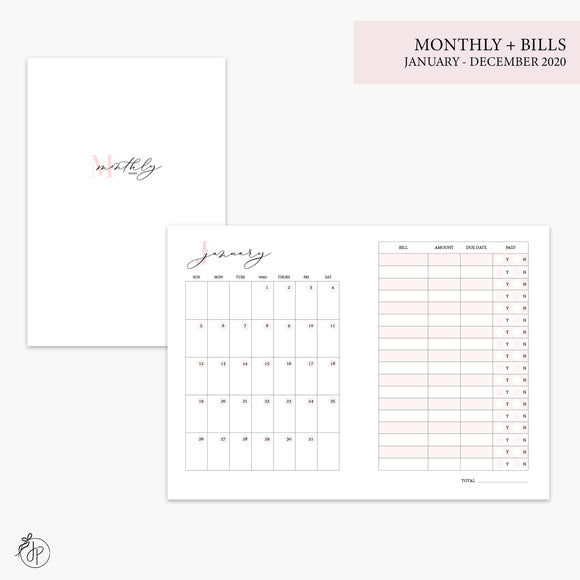 Monthly + Bills 2020 Pink - A6 TN