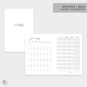 Monthly + Bills 2020 - A6 TN