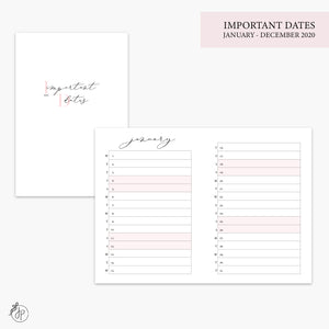 Important Dates 2020 Pink - A6 TN