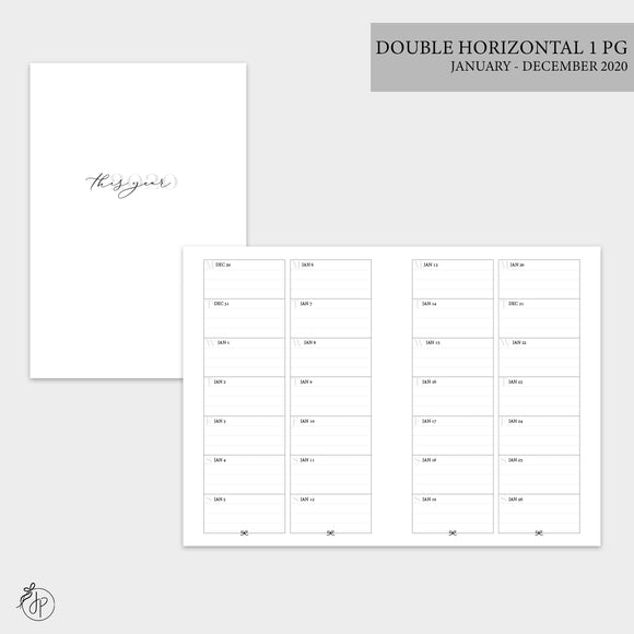 Double Horizontal on 1 Page 2020 - A6 TN