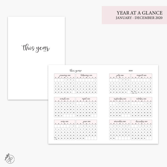 Year at a Glance 2020 Pink - A6 TN