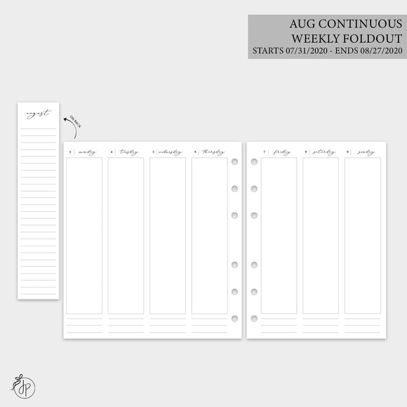 August Continuous Weekly Foldout - A5 Rings