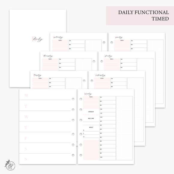 Daily Functional Timed Pink - B6 Rings
