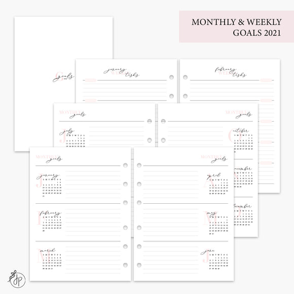 Monthly & Weekly Goals 2021 Pink - B6 Rings