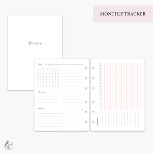 Monthly Tracker Pink - B6 Rings