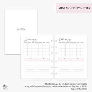 Mini Monthly + Lists Pink - B6 Rings