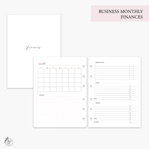 Business Monthly Finances Pink - B6 Rings