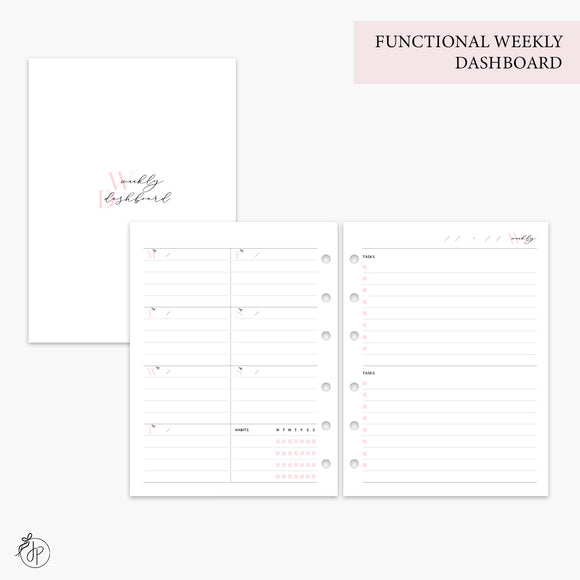 Functional Weekly Dashboard Pink - B6 Rings
