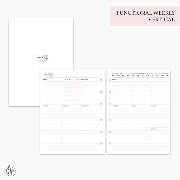 Functional Weekly Vertical Pink - B6 Rings