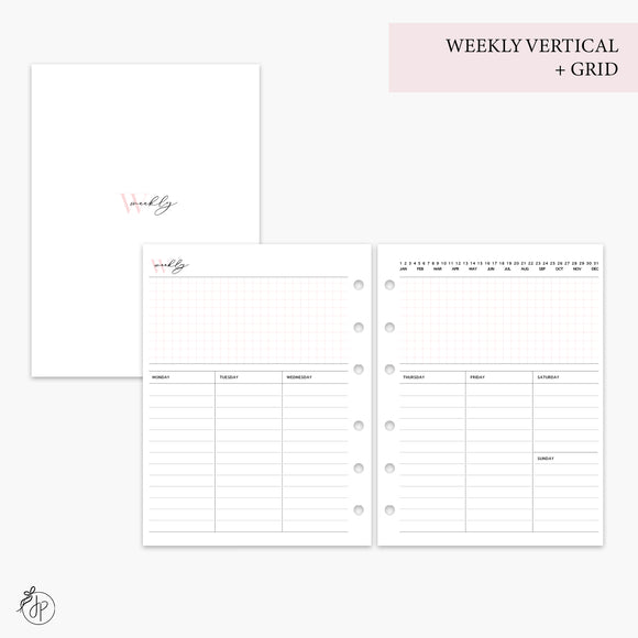 Weekly Vertical + Grid Pink - B6 Rings