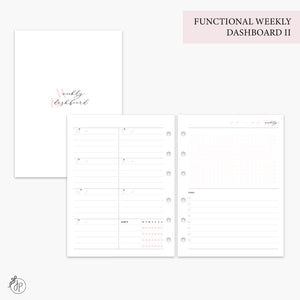 Functional Weekly Dashboard II Pink - B6 Rings