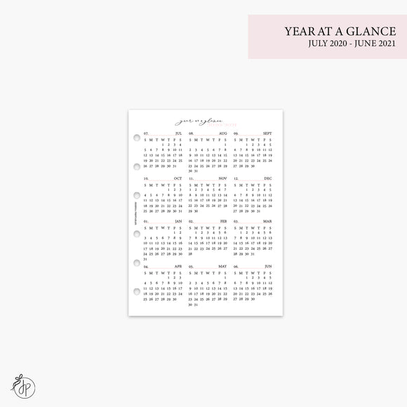 Year at a Glance 1 PG 20/21 Pink - B6 Rings