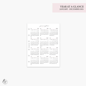 Year at a Glance 1 PG 2021 Pink - B6 Rings