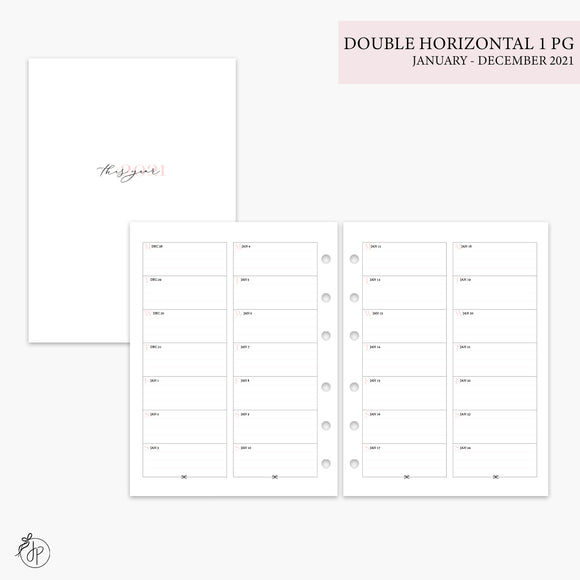 Double Horizontal on 1 Page 2021 Pink - B6 Rings