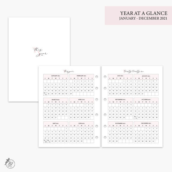 Year at a Glance 2021 Pink - B6 Rings