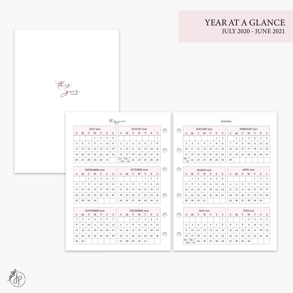 Year at a Glance 20/21 Pink - B6 Rings