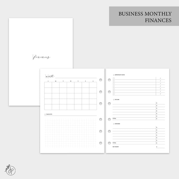 Business Monthly Finances - B6 Rings