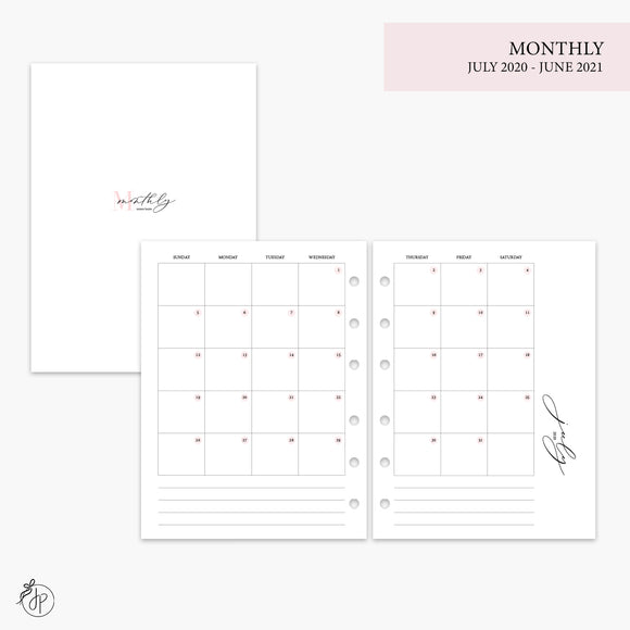 Monthly 20/21 Pink - B6 Rings