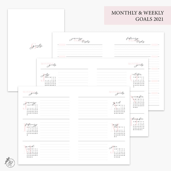 Monthly & Weekly Goals 2021 Pink - B6 TN
