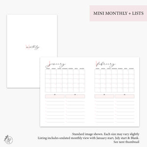 Mini Monthly + Lists Pink - B6 TN