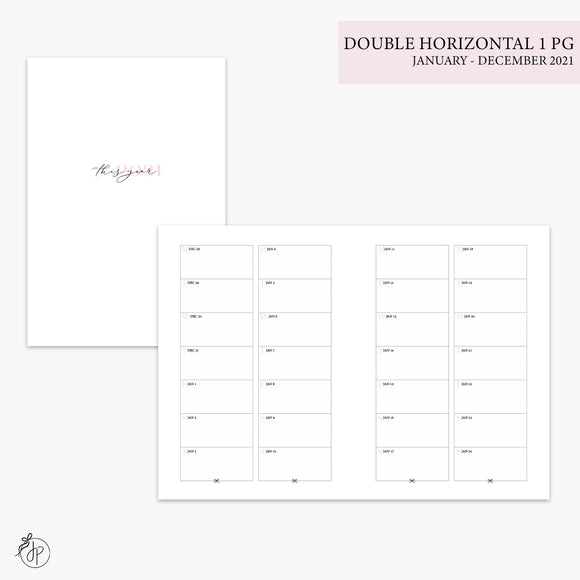 Double Horizontal on 1 Page 2021 Pink - B6 TN