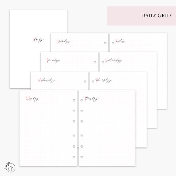 Daily Grid Pink - B6 Rings