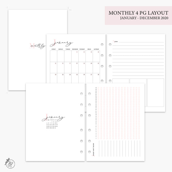 Monthly 4 Page Layout 2020 Pink - B6 Rings